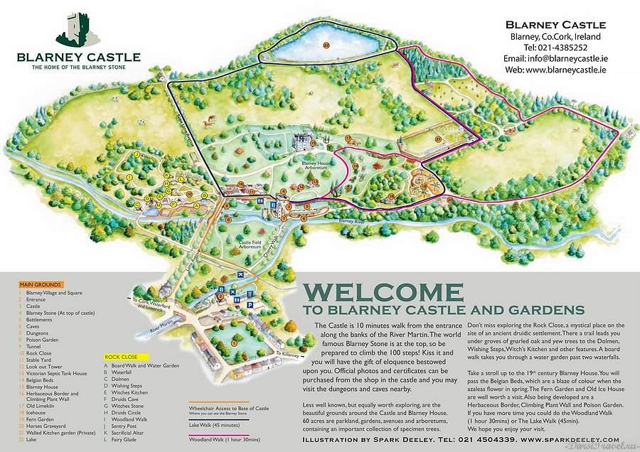 Ирландия. Карта достопримечательностей Бларни.